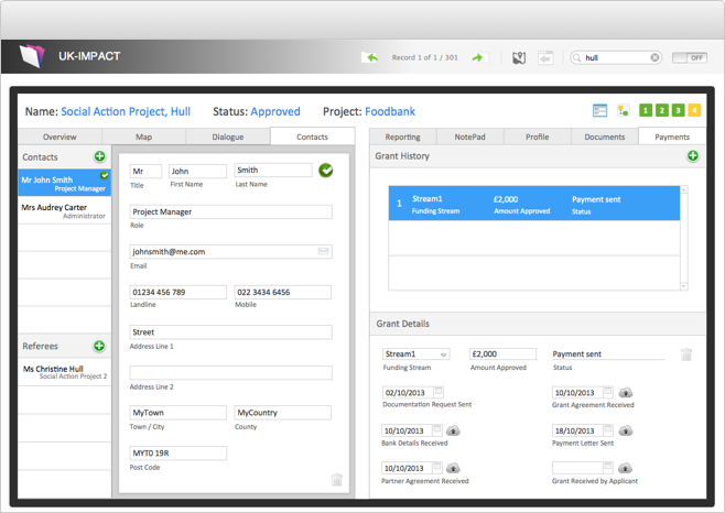 Data Solution Screenshot - Data Entry and Payments View